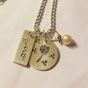 Handmade stamped dandelion wish necklace w/ pear